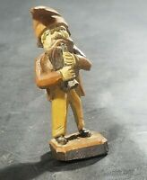 Vintage German Black Forest Brienz Wood Carving Miniature Gnome With Horn