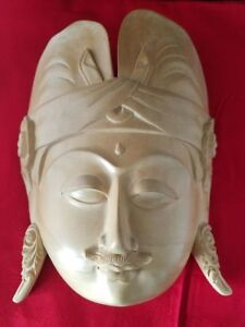 """Vintage Handcrafted Mask 'Heavenly Buddha' Beige Wood Wall Art Hanging 11""""L"""