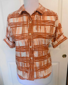 Vintage 50s 60s Brown White Short Sleeve Blouse Majestic Size 12 - 32 B38