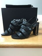 NIB Chanel Quilted Block Heel Sandals in Black, Size 35