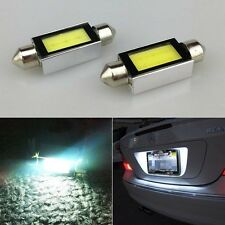 2 X White Xenon 36mm Car COB LED License Plate Light 6418 C5W 4W LED Bulbs 12V