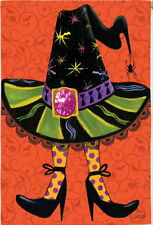NEW LARGE EVERGREEN HALLOWEEN FLAG WITCH'S HAT & STOCKINGS HIGH HEELS  29 X 43