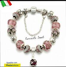 Bracciale Argento 925  donna charms+ ciondoli+catenina sicurezza .  TIPO PANDORA