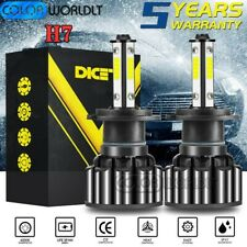 Pair 4-Sides H7 COB LED Headlight Kit bulb 120W 6000K 32000LM High Low beam Lamp