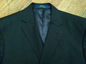 MAKE OFFER Polo RALPH LAUREN Black Wool Blazer Jacket 46R Double Vent VERY CLEAN