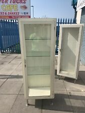 Vintage Medical Glass Metal Cabinet Industrial Bathroom Shop Display Chrome legs