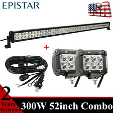 300W 52inch LED Light Bar+18W Pods Wiring Harness fit Off road UTE Ranger 4X4 MK