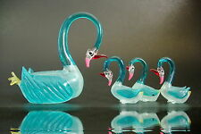 Glass SWAN FAMILY, 4 Pond Birds, Animals, Turquoise Ornaments, Christmas Gift
