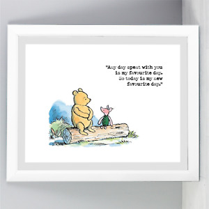 A4 Winnie The Pooh Quote Print Unframed Wall Art Minimalist Favourite Landscape