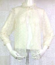 VTG 50s 60s Lace Lingerie Bed Jacket Ivory Pale Blue Crop Romantic Pin Up S M