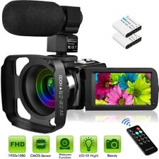 Welcam Video Camera with Microphone Vlogging Camera Digital Camcorder FHD 1080P