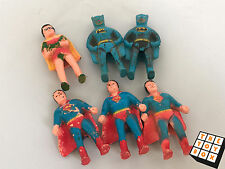 Vintage DC Batman Robin Superman Pencil Topper Figures x6 1970's