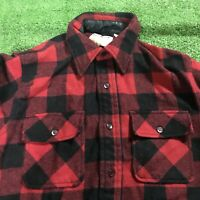 VTG Sears Kings Road Wool Blend Buffalo Plaid 60s Flannel Board Shirt Medium