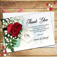10 Personalised Red Roses Wedding Thank You Cards N120