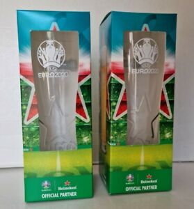 Set of 2 Official Heineken Limited Edition Euro 2020 Pint Glasses - New