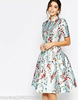 CHI CHI LONDON FLORAL PRINT MIDI DRESS PROM WEDDING PARTY SIZE UK 8 10