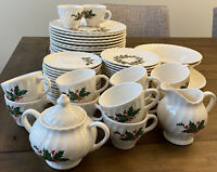 63 Pieces Scio Holly Ironstone Dinnerware Vintage Christmas
