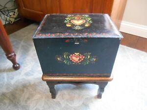 Antique Primitive Tole / Toleware Painted Tin Box ( Floral, Great Colors! )