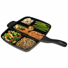 5 IN 1 MULTI-SECTION FRYING PAN ALUMINIUM POTS GRILL NON-STICK COATING CAST