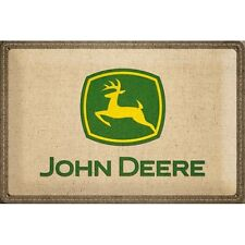 PLAQUE EN METAL EMAILLEE NEUVE 20 X 30 cm : JOHN DEERE ASPECT TOILE