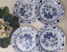 4er-Set Royal Boch Porzellanteller blaue Blumenmotive Ø 18 cm NEU