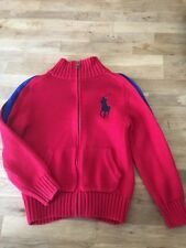 EE70 Polo Ralph Lauren Boys Age/Size 6 Red Cotton Zip Up Jumper/Cardy