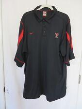 Nike Texas Tech Polo Shirt 3 Button Short Sleeve Fit Dry Black XXL  #7562