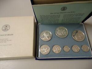 BELIZE 1974 - KMS Proof Set mit 8 Münzen in Silber, PP - VÖGEL