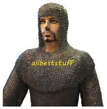 Chain Mail Shirt 8mm Flat Riveted Solid Ring Black Chain Mail Hauberk & Coif Set