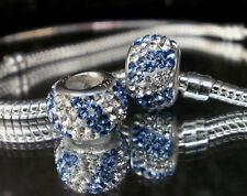 Bead Element Kristall Ocean Farben Blue White Silber - plattiert Armband 0201