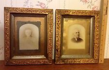 Beautiful Pair Of Framed 1800'S PHOTOS OF A ELDERLY COUPLE Gold Flake Type Frame
