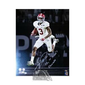 Calvin Ridley 15,17 Natl Champs Autographed Alabama 16x20 Photo BAS White Jersey