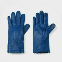 A New Day Women's Leather Scallops Gloves - Color - Navy, Size: XS/S