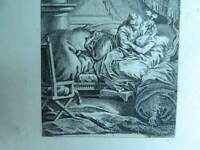 Xixth Antique Engraving Eau Forte Scene Romantic Galant Lover Signed A.S