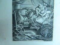 XIXe ancienne gravure Eau forte originale Scène galante Amants signée A.S.