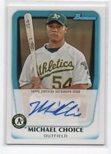 Michael Choice 2010 Bowman RC Rookie Auto Autograph # BPA-MC Oakland Athletics