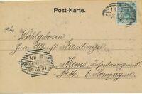"""ÖSTERREICH """"KREMS a.d. DONAU""""  (N.Ö.) u. """"10/2 WIEN 7"""" Schraffenstempel Bf 1908"""