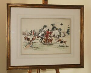 ROS GOODY (20th Century) Watercolour Painting Fox Hunt with Huntsmen & Hounds