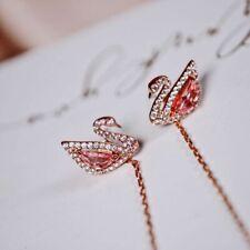 Swarovski Dazzling Swan Pierced Earrings, Multi-colored, Rose-gold tone plated
