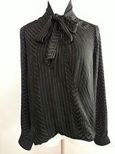 NWT Michael Kors Black tie neck blouse top shirt womens Size medium $130