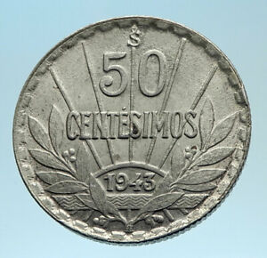 1943 URUGUAY Founding Father Hero ARTIGAS Silver Vintage WWII Time Coin i77515