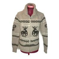 Aritzia TNA Sea To Sky Womens Lambswool Cardigan S Beige Cowichan Deer Sweater