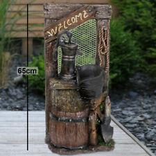 Außen Brunnen Holz Stein Design Kaskaden Wasserspiel Garten Dekoration Polyresin