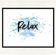 Blue White Bold Relax Inspirational Quote Dinner Table Placemat