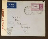 1941 Peshawar India to Newtownbarry Wexford Ireland Censored WWII Airmail Cover