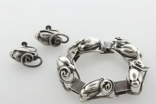 Georg Jensen Sterling Silver Flower Bud Blossom No. 118 Bracelet & Earring Set