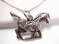 Horse Filigree 925 Sterling Silver Pendant Corona Sun Jewelry equine stable