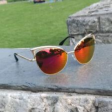 Women Retro Lens Mirrored Metal Frame Glasses Oversized Cat Eye Sunglasses New R