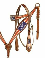 Stars Stripes USA Crystals Leather Bridle Headstall Breast Collar Medium Oil
