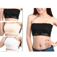 Fashion White/Black Women Stretch Strapless Boob Tube Top Bandeau Sexy Bra Lace